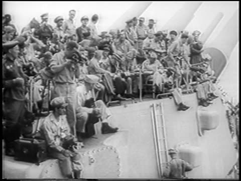 sailors sitting aboard u.s.s. missouri to watch surrender of japan to allies / world war ii - 1945 stock videos & royalty-free footage