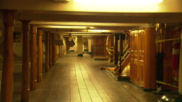 ws zo sailors sleeping quarters in b level of uss constitution first launched in 1797 ('old ironside') / boston, massachusetts, usa - uss constitution stock videos and b-roll footage