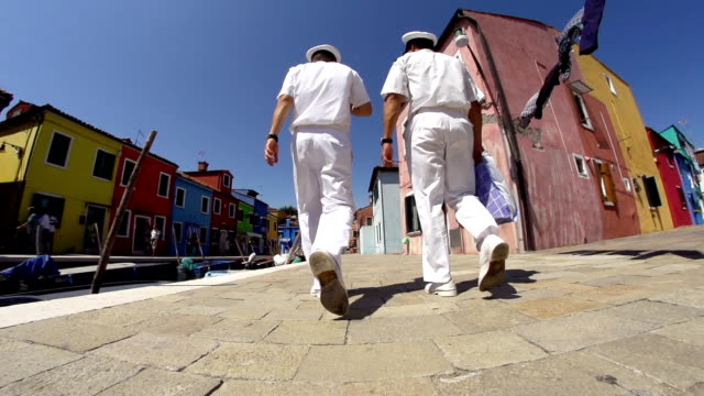 HD SUPER SLOW-MO: Sailors Walking In Venice