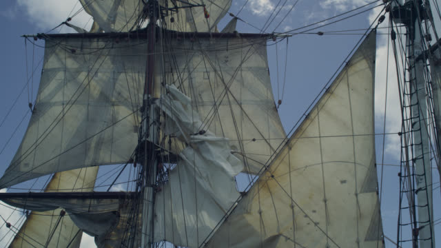 sails and masts of tall ship, grenada - rigging nautical stock videos & royalty-free footage