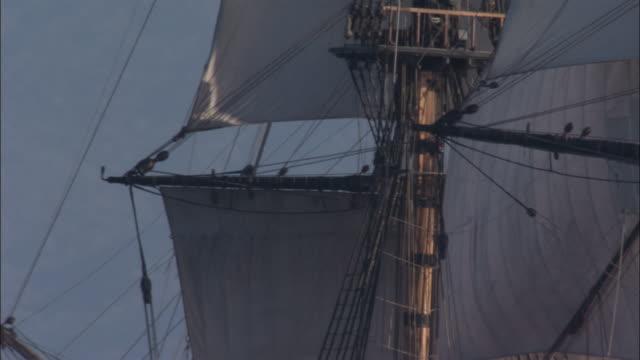 Sails of replica HMS Endeavour as it sails past coast.