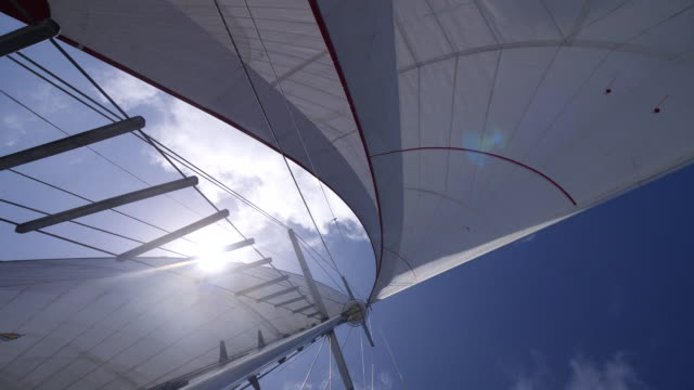 sails on a sailboat boat in the pacific ocean. - slow motion - sailing stock videos & royalty-free footage