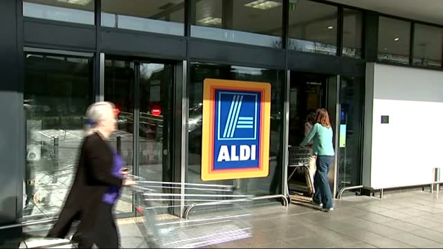 sainsbury's embarks on price war with discount stores unidentified location gv of aldi supermarket - price stock videos and b-roll footage