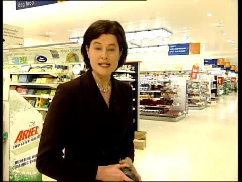 vídeos de stock e filmes b-roll de sainsbury's jobs axed after poor profit rise itn london i/c - sainsburys