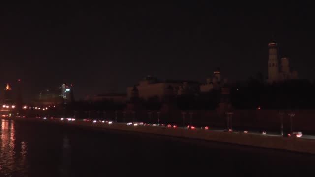 saint basil's cathedral spasskaya tower and grand kremlin palace seen after lights were turned off to mark earth hour in moscow russia on march 19... - earth hour stock videos & royalty-free footage