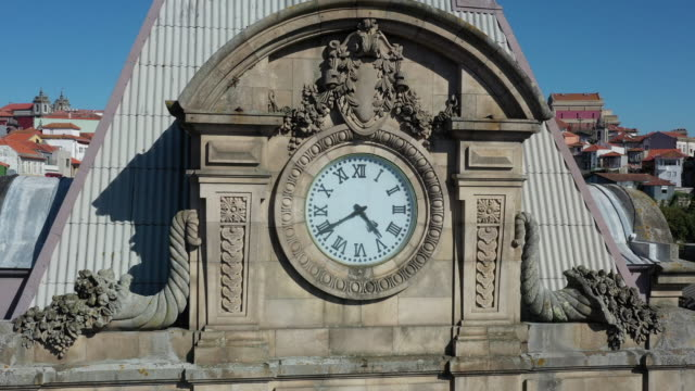 saint benedict railway station / porto, portugal - clock tower stock videos & royalty-free footage