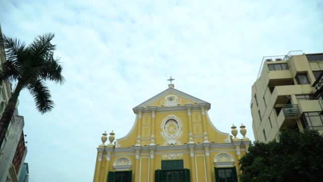 saint dominic's church senado square macau - macao flag stock videos and b-roll footage