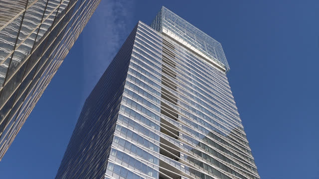 saint gobain headquarters in the parisian business district of la défense - office block exterior stock videos & royalty-free footage