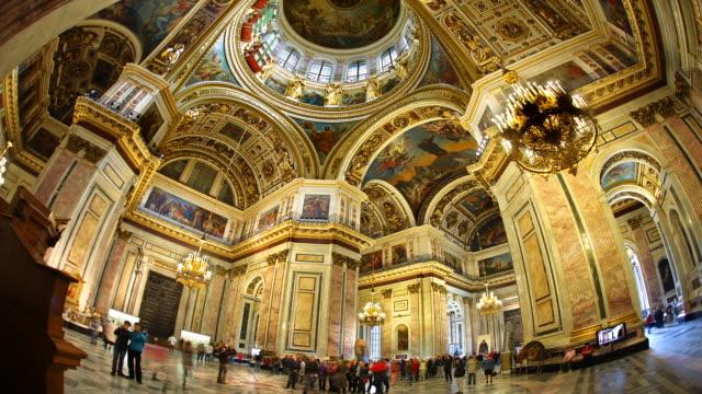 t/l fisheye saint isaac's cathedral interior 3 - fischaugen objektiv stock-videos und b-roll-filmmaterial