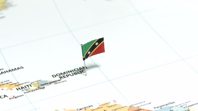 Saint Kitts and Nevis with National Flag
