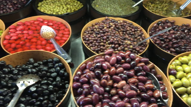 saint lawrence market: olives display in a stand-toronto,canada - トロント点の映像素材/bロール