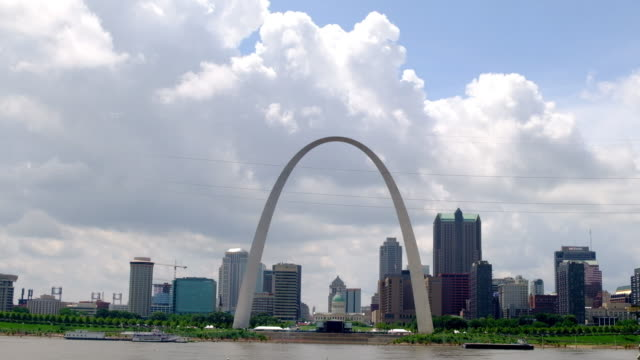 saint louis skyline during the day time. gateway arch - st. louis missouri stock videos & royalty-free footage
