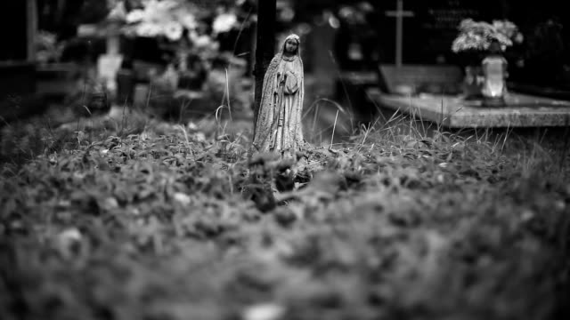 saint mary-statue im alten friedhof - religion stock-videos und b-roll-filmmaterial