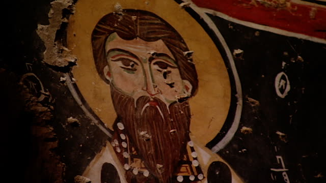 saint moses the abyssinian monastery. a fresco of a sainted painted in the apse of the monastery church. saint moses the abyssinian is a monastic... - circa 11th century stock videos & royalty-free footage