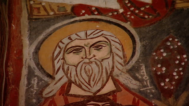 saint moses the abyssinian monastery cu of a medieval fresco depicting a bearded saint in the monastery church saint moses the abyssinian is a... - circa 11th century stock videos & royalty-free footage