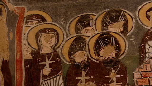 saint moses the abyssinian monastery lowangle of a fresco depicting nuns in the monastery church saint moses the abyssinian is a monastic community... - circa 11th century stock videos & royalty-free footage