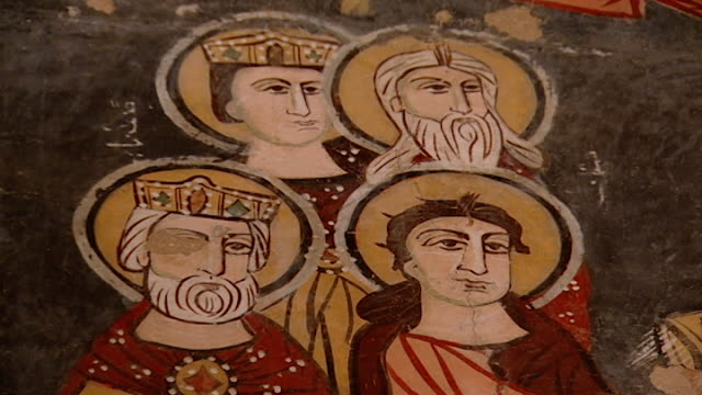 saint moses the abyssinian monastery. low-angle of a fresco depicting kings and saints, in the monastery church. saint moses the abyssinian is a... - circa 11th century stock videos & royalty-free footage