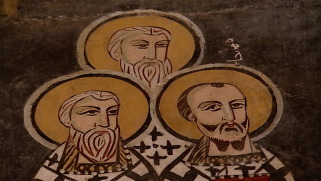 saint moses the abyssinian monastery. low-angle of a fresco depicting clergymen, in the monastery church. saint moses the abyssinian is a monastic... - circa 11th century stock videos & royalty-free footage