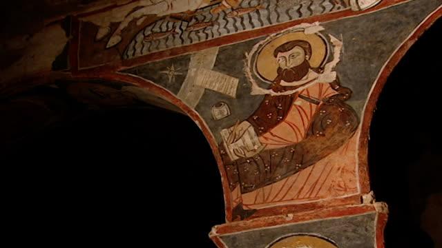 saint moses the abyssinian monastery lowangle of a fresco in the monastery church saint moses the abyssinian is a monastic community of the syriac... - circa 11th century stock videos & royalty-free footage