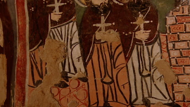 saint moses the abyssinian monastery. low-angle tilt-up of a fresco depicting nuns, in the monastery church. saint moses the abyssinian is a monastic... - circa 11th century stock videos & royalty-free footage