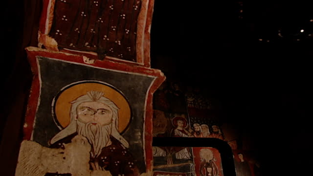 saint moses the abyssinian monastery lowangle tiltup of a fresco painted on the inside of an arch in the monastery church saint moses the abyssinian... - circa 11th century stock videos & royalty-free footage