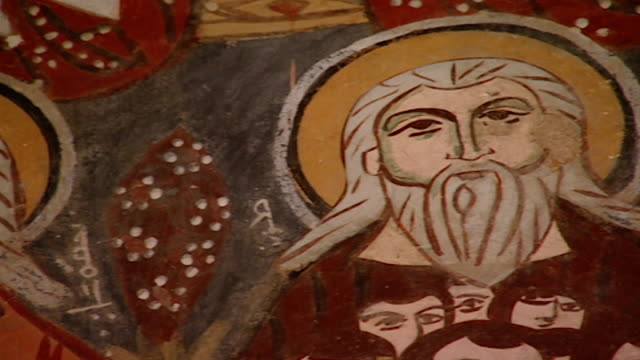 saint moses the abyssinian monastery. pan-right of a medieval fresco depicting saints, in the monastery church. saint moses the abyssinian is a... - circa 11th century stock videos & royalty-free footage