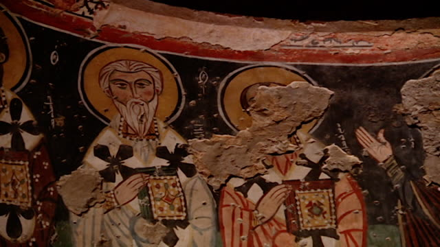 saint moses the abyssinian monastery. pan-right of frescoes painted in the apse of the monastery church. saint moses the abyssinian is a monastic... - apse stock videos & royalty-free footage
