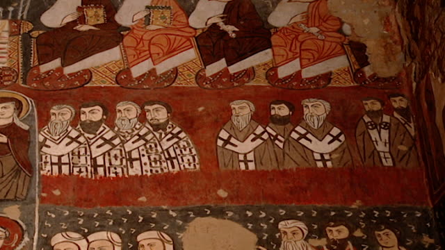 saint moses the abyssinian monastery. tilt-down of medieval frescoes of purgatory and hell, in the monastery church. saint moses the abyssinian is a... - circa 11th century stock videos & royalty-free footage