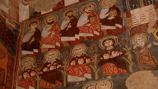saint moses the abyssinian monastery tiltdown of medieval frescoes depicting saints and holy men and women in the monastery church saint moses the... - circa 11th century stock videos & royalty-free footage
