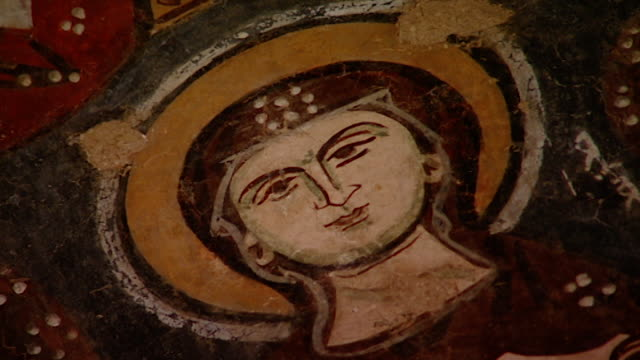 saint moses the abyssinian monastery. view of a medieval fresco depicting depicting a female saint, in the monastery church. saint moses the... - circa 11th century stock videos & royalty-free footage