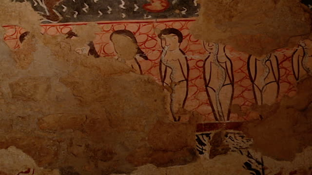 saint moses the abyssinian monastery. view of damaged medieval frescoes depicting naked people in hell, in the monastery church. saint moses the... - circa 11th century stock videos & royalty-free footage