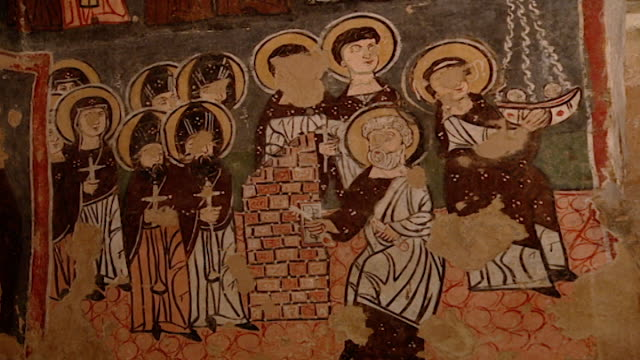 saint moses the abyssinian monastery. view of medieval frescoes depicting saints and holy men and women, in the monastery church. saint moses the... - circa 11th century stock videos & royalty-free footage