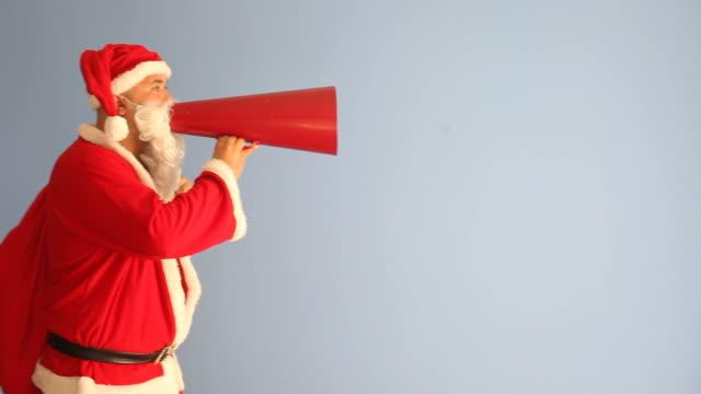 saint nicholas shouting via old fashioned megaphone - megaphone stock videos & royalty-free footage