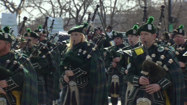 saint patrick's day parade on march 14, 2015 in chicago, illinois. - st. patrick's day stock videos & royalty-free footage