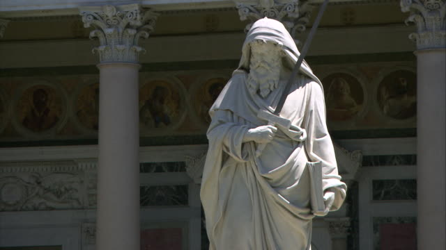 saint paul ouside the walls, rome - statue stock videos & royalty-free footage