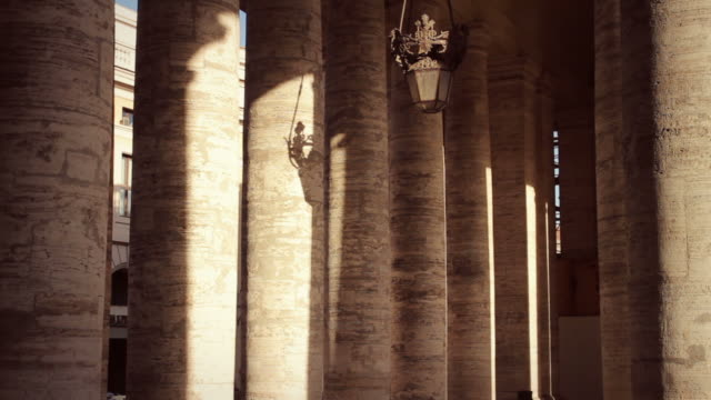 saint peter colonnade in vatican, rome - architectural column stock videos & royalty-free footage