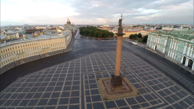 saint petersburg aerial view of palace square - palacio stock videos & royalty-free footage