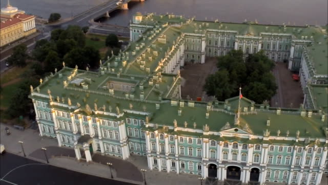 saint petersburg aerial view of winter palace - st. petersburg russia stock videos & royalty-free footage
