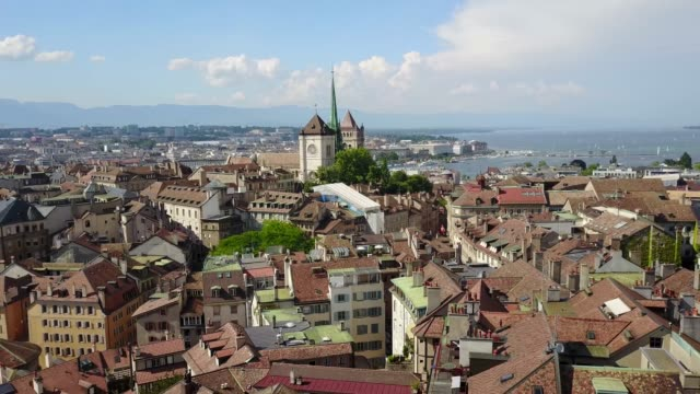 saint pierre cathedral and the old town of geneva, lake geneva - summer drone footage in geneva, switzerland - old town stock videos & royalty-free footage
