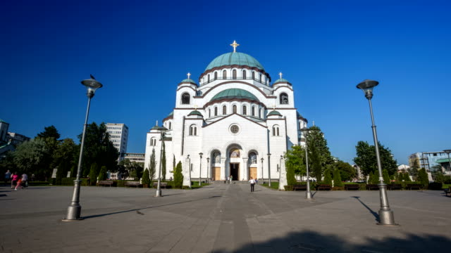 saint sava temple hyper lapse in belgrade - belgrade serbia stock videos and b-roll footage