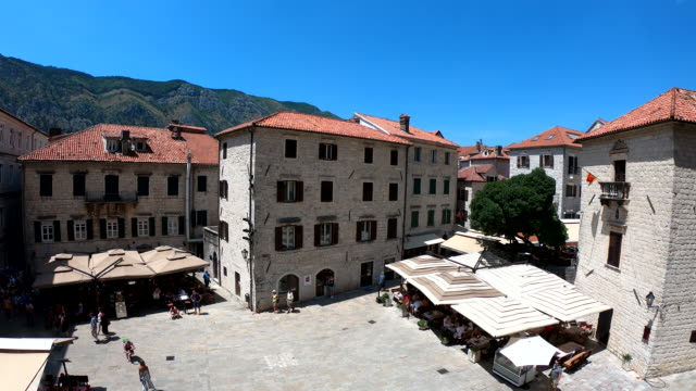 saint tryphon square - kotor, montenegro - old town stock videos & royalty-free footage