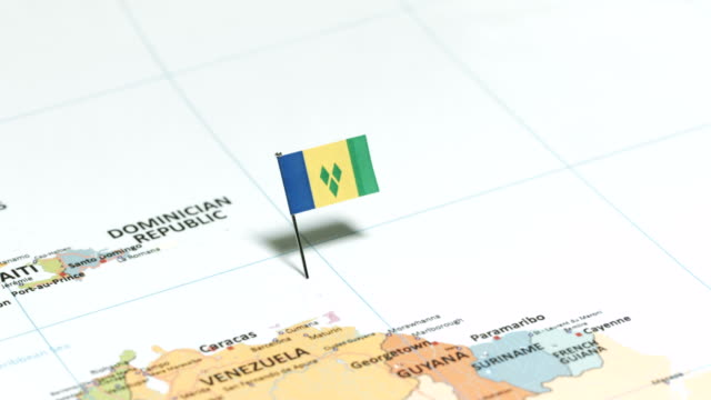 Saint Vincent and the Grenadines with National Flag