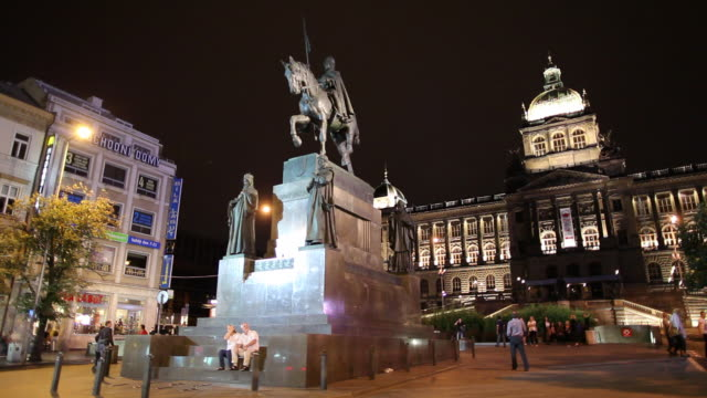 WS Saint Wenceslas Monument and National Museum illuminated at night/ Prague, Czech Republic