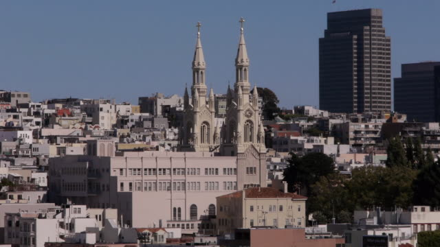 saints peter and paul church and high rise building from russian hill. san francisco ca - north beach san francisco stock videos and b-roll footage
