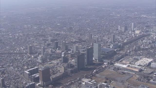 vídeos y material grabado en eventos de stock de aerial, saitama new urban center, saitama, japan - edificio financiero