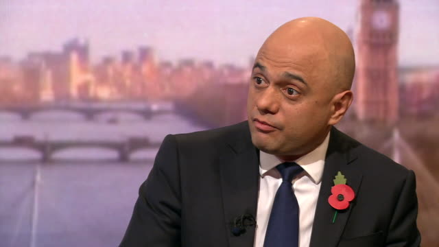 sajid javid explaining how the conservatives came to the '£12trillion' spending figure for labour - andrew marr stock videos & royalty-free footage