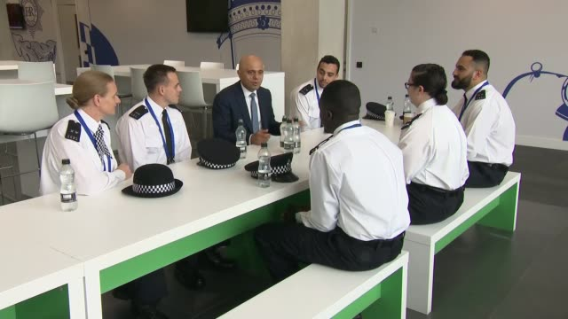 sajid javid interview and police college visit england london hendon hendon police college int sajid javid mp touring police training college /... - military recruit stock videos & royalty-free footage
