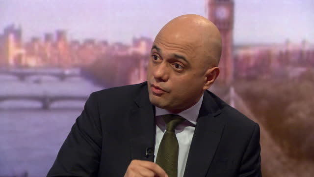 sajid javid intv on andrew marr about the irish border and brexit i asked border force and using existing technologies you can have no hard border on... - 2016 european union referendum stock videos & royalty-free footage