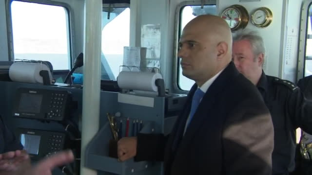 sajid javid on board a uk border force 'cutter' ship - english channel stock videos & royalty-free footage
