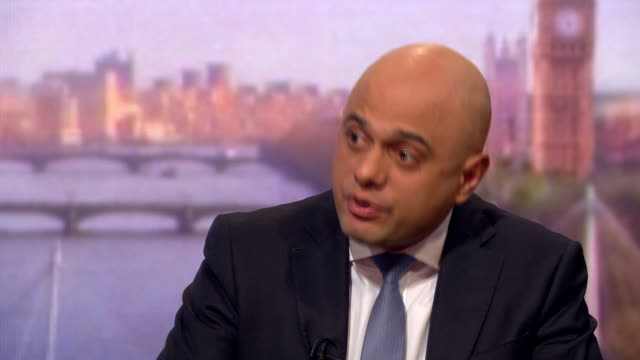 sajid javid saying we are working wholeheartedly and straining every sinew to get a brexit deal - andrew marr stock videos & royalty-free footage
